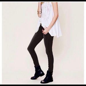 Free People Leather Trim Skinny Jeans